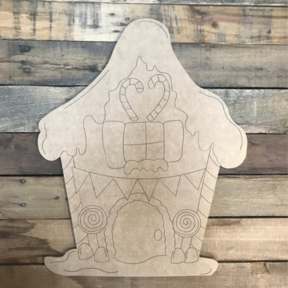 Gingerbread House Cutout, Wood Shape, Paint by Line
