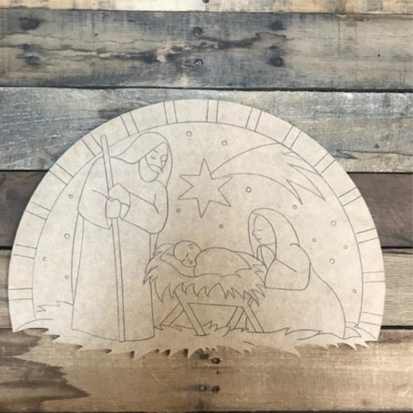 Nativity Scene Cutout, Wood Shape, Paint by Line