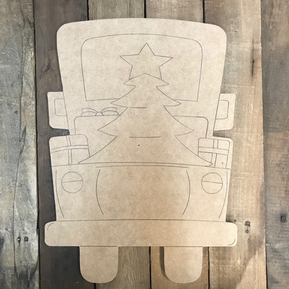Tall Truck with Christmas Trees Cutout, Wood Shape, Paint by Line