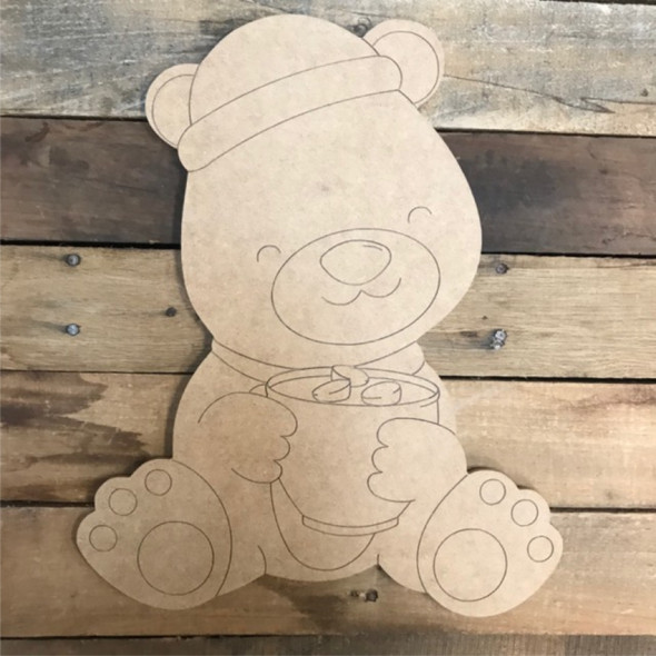 Teddy Bear Cutout, Unfinished Shape, Paint by Line