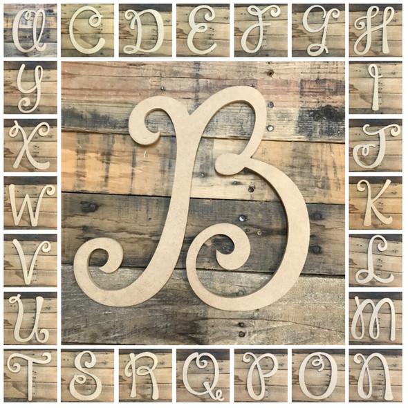 Unfinished Custom Cursive Letters