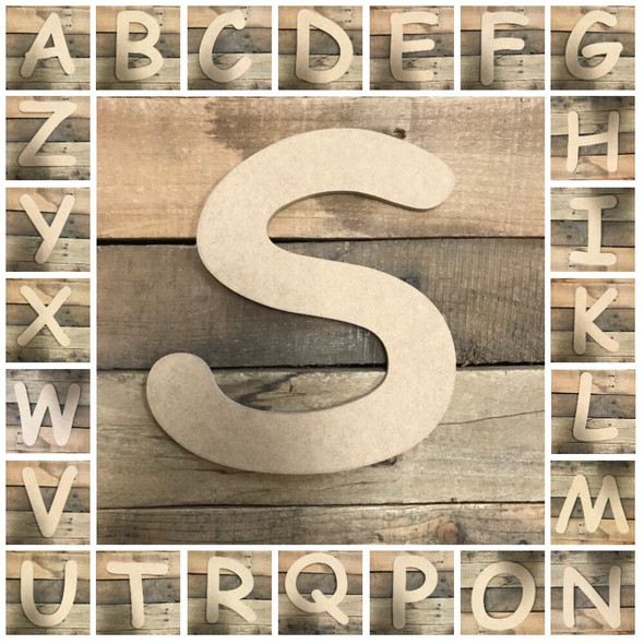 Wooden Letters Unfinished MDF Comic Font