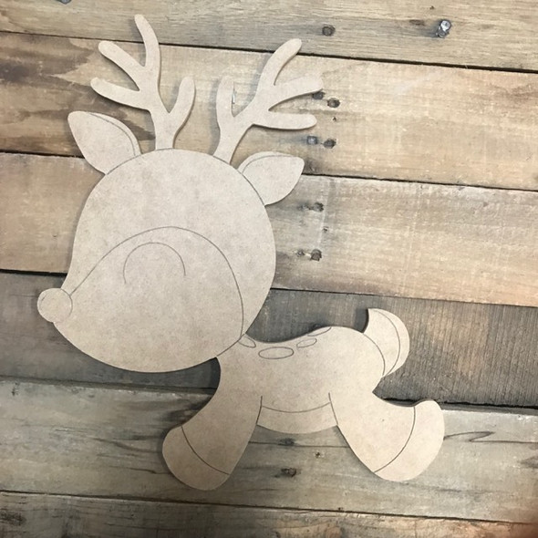 Reindeer Cutout, Unfinished Shape, Paint by Line