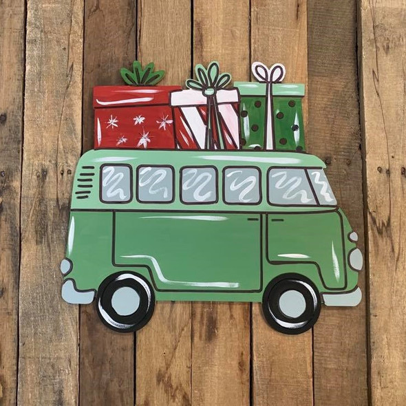 Retro Van with Presents Cutout, Shape, Paint by Line