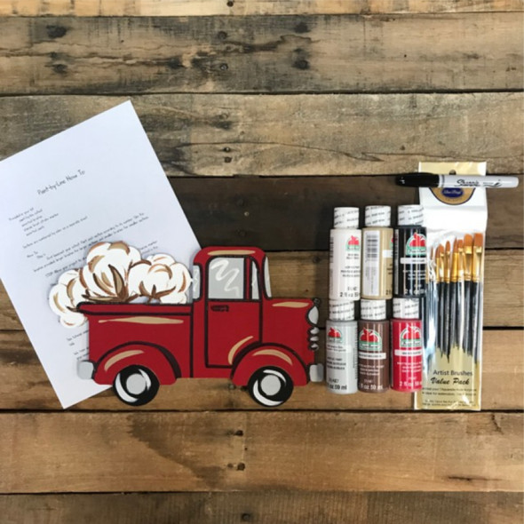 Cotton in Old Style Truck,  Paint Kit, Video Tutorial and Instructions