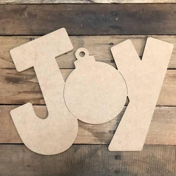 JOY Cutout, Unfinished Shape, Paint by Line