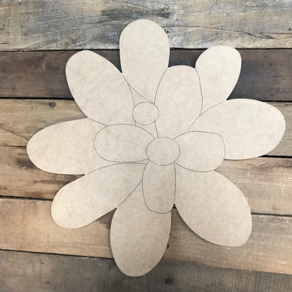 Succulent Flower Cutout, Shape, Paint by Line