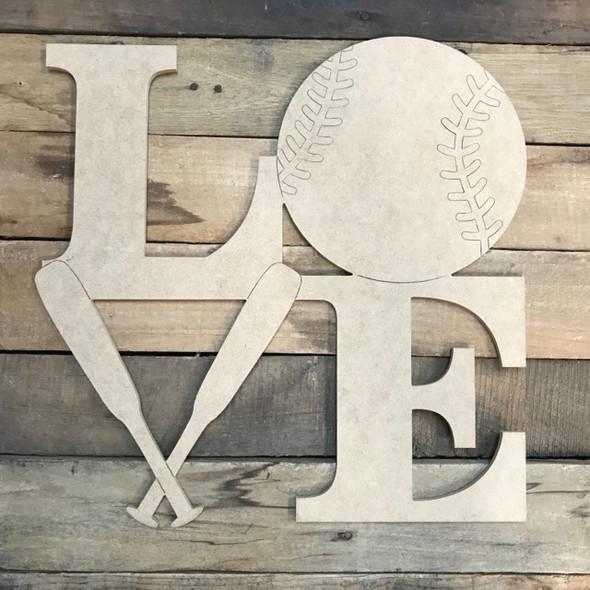 Baseball Love Cutout, Unfinished Shape, Paint by Line