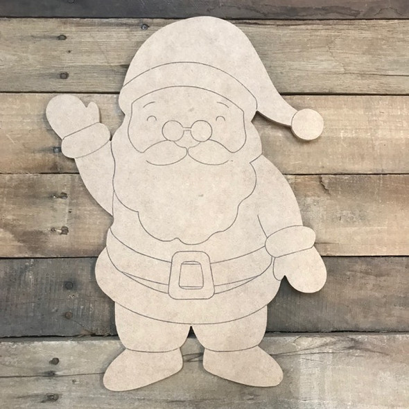 Santa Cutout, Unfinished Shape, Paint by Line