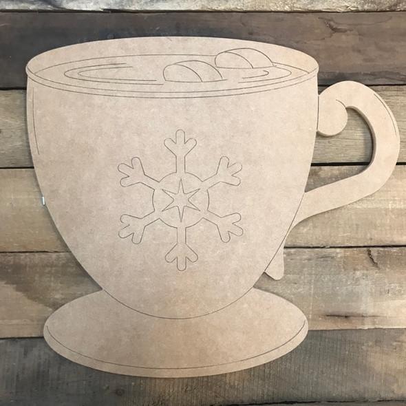 Christmas Mug Cutout, Shape, Paint by Line