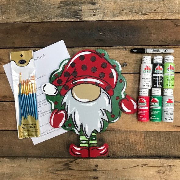 Gnome with Wreath,  Paint Kit, Video Tutorial and Instructions