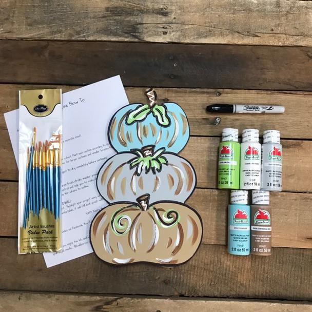 Triple Pumpkin,  Paint Kit, Video Tutorial and Instructions