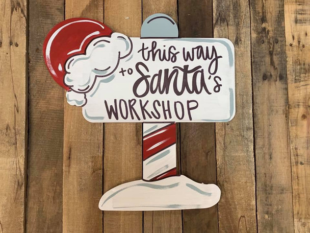 North Pole Christmas Sign Cutout, Unfinished Shape, Paint by Line