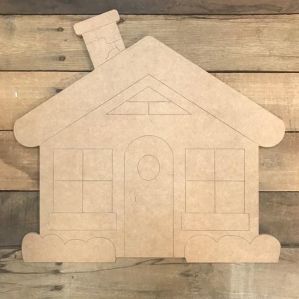 Gingerbread House Cutout, Shape, Paint by Line