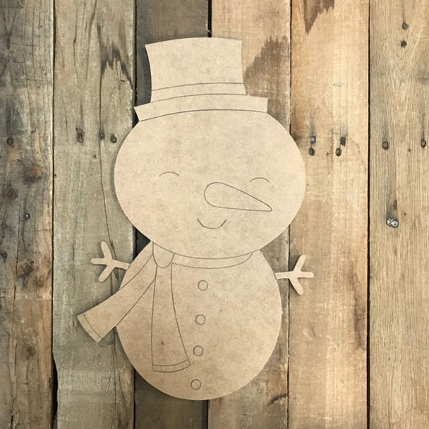 Snowman with Hat Cutout, Unfinished Shape, Paint by Line