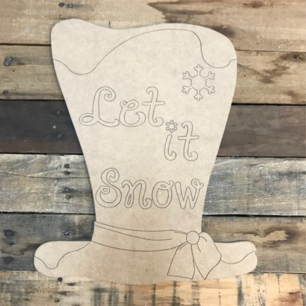 Let it Snow Hat Cutout, Shape, Paint by Line