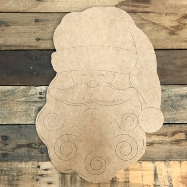 Santa Head Cutout, Unfinished Shape, Paint by Line