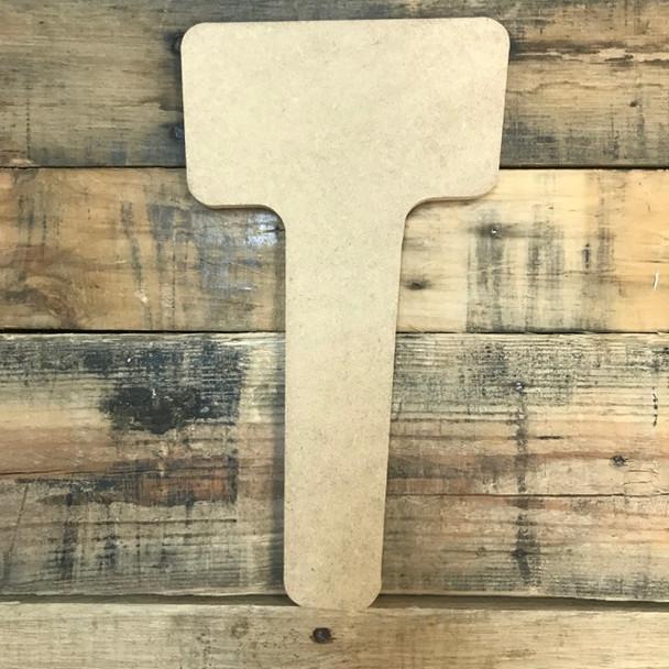 Block letter T comes in a unique wood lettering font.