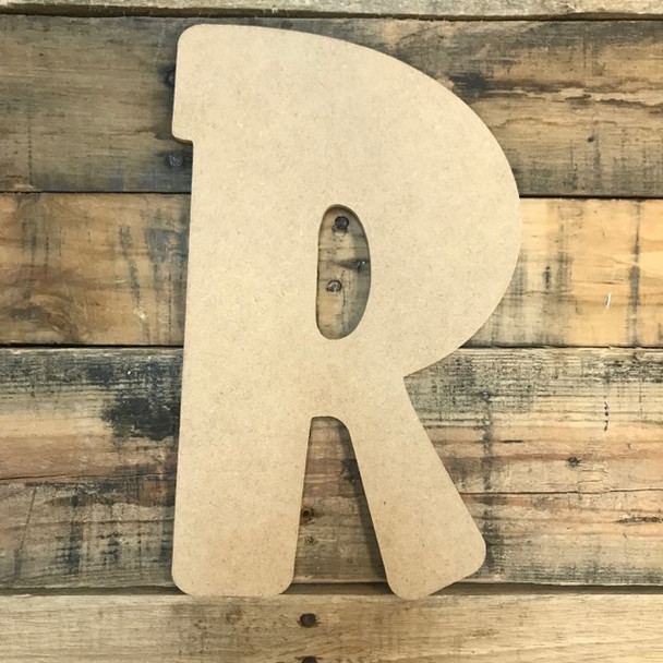 Block letter R are cheap unpainted mdf wooden letters.