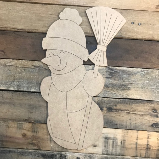 Snowman with Broom, Unfinished Shape, Paint by Line