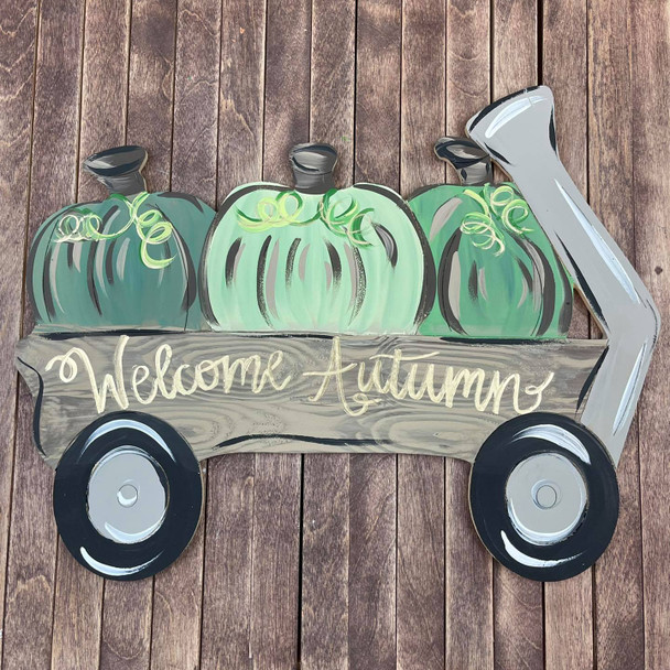 Pumpkins in Wagon, Unfinished Shape, Paint by Line