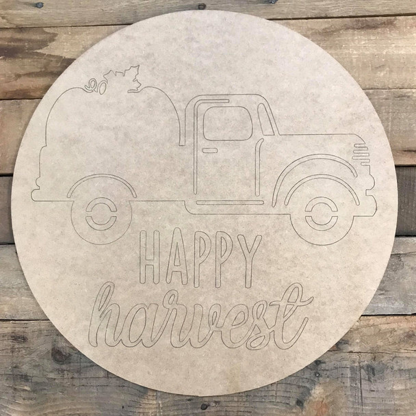 Happy Harvest Fall Circle, Wood Cutout, Shape, Paint by Line