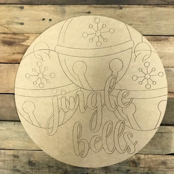 Jingle Bell Circle, Wood Cutout, Shape, Paint by Line