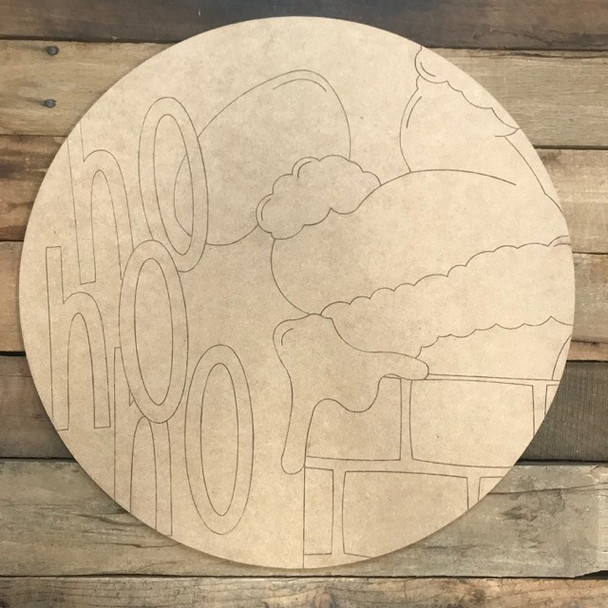 HO HO HO Circle, Wood Cutout, Shape, Paint by Line