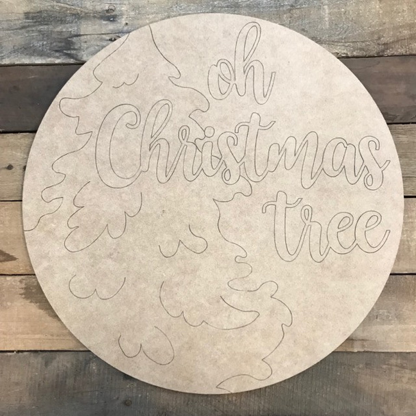 Oh Christmas Tree Circle, Wood Cutout, Shape, Paint by Line