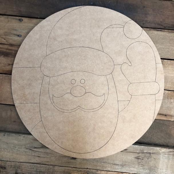 Santa Circle, Wood Cutout, Shape, Paint by Line