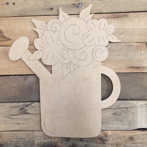 Flower Pot, Wood Cutout, Shape, Paint by Line