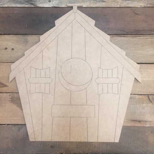 Bird House, Wood Cutout, Shape, Paint by Line