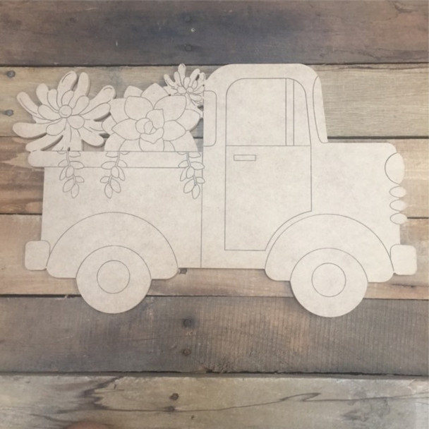 Truck with Flowers, Wood Cutout, Shape, Paint by Line