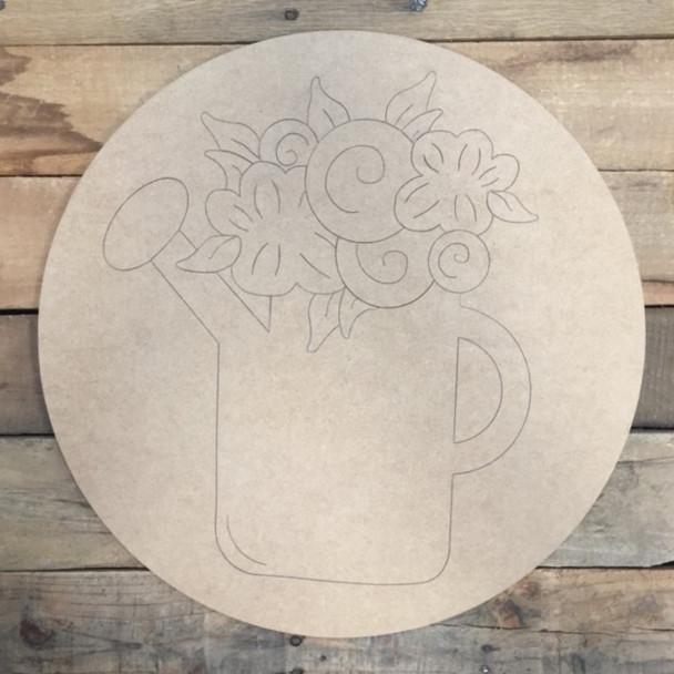 Flower Pot Circle, Wood Cutout, Shape, Paint by Line