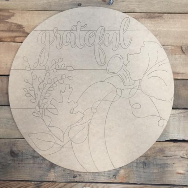 Grateful Pumpkin Circle, Wood Cutout, Shape, Paint by Line