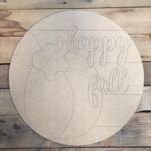 Happy Fall Pumpkin Circle, Wood Cutout, Shape, Paint by Line