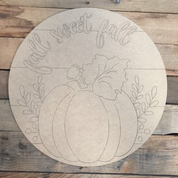 Fall Sweet Fall Circle, Wood Cutout, Shape, Paint by Line