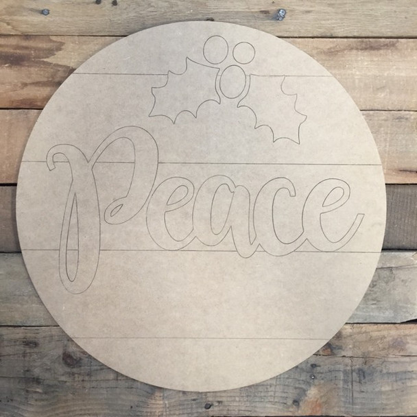 Peace Christmas Circle, Wood Cutout, Shape, Paint by Line