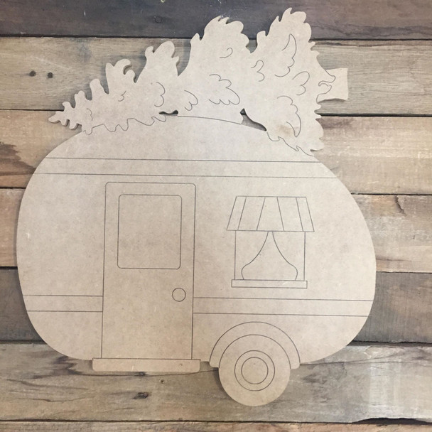 Camper with Christmas Tree, Wood Cutout, Shape, Paint by Line