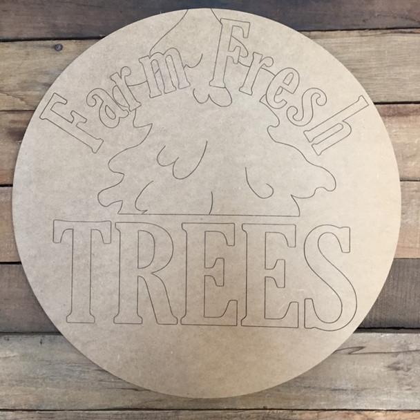 Farm Free Trees Circle, Wood Cutout, Shape, Paint by Line