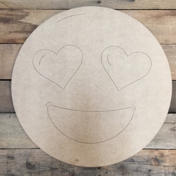 Heart Eyes Emoji Cutout, Unfinished Shape, Paint by Line