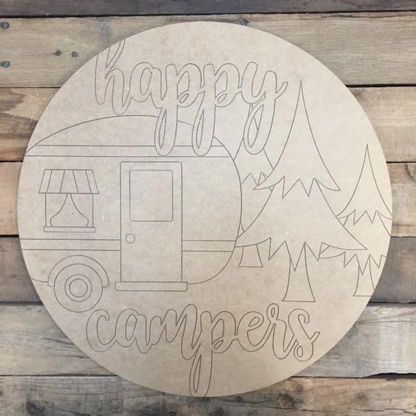 Happy Camper Circle, Wood Cutout, Shape, Paint by Line