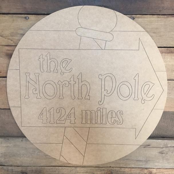 North Pole Circle, Wood Cutout, Shape, Paint by Line