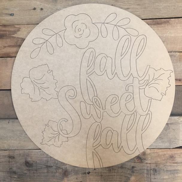 Fall Sweet Fall Flower Circle, Wood Cutout, Shape, Paint by Line
