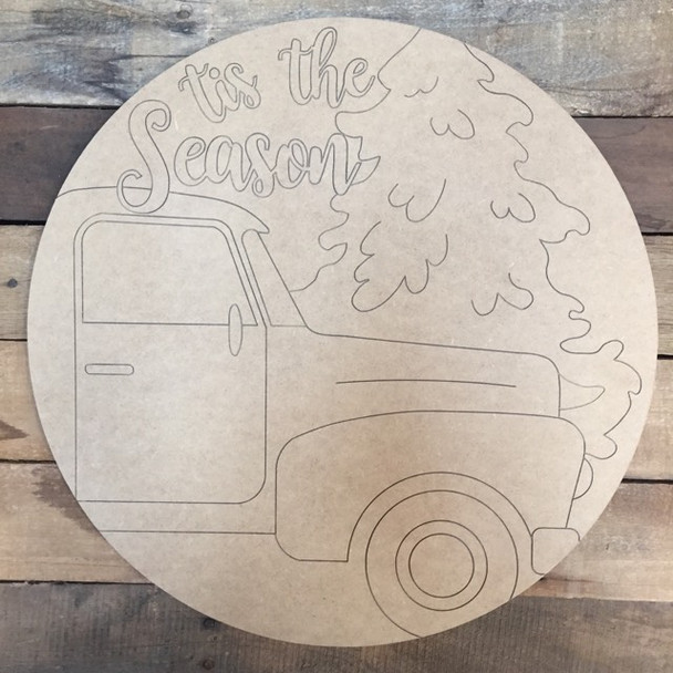 Tis the Season Truck Circle, Wood Cutout, Shape, Paint by Line