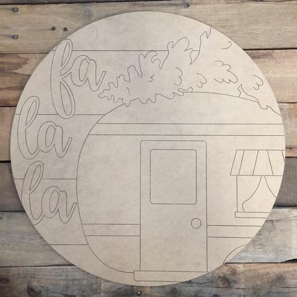 La La La Camper Circle, Wood Cutout, Shape, Paint by Line