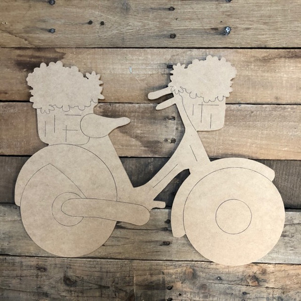 Bicycle with Flowers, Wood Cutout, Shape, Paint by Line