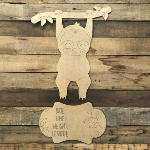 Sloth Hospital Plaque, Baby Announcement, Paint by Line