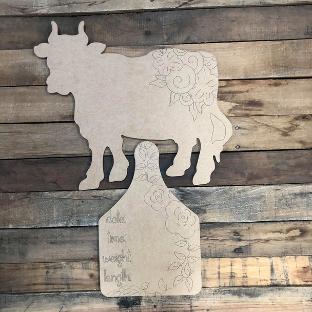 Cow Hospital Plaque, Baby Announcement,  Paint by Line
