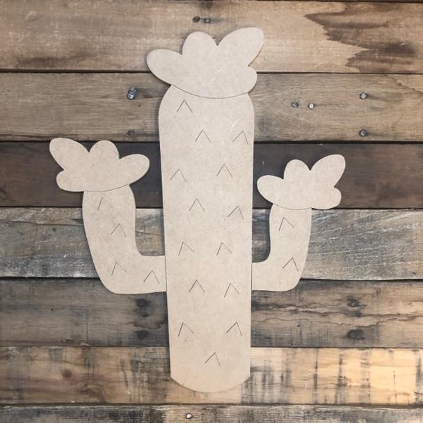 Flower Cactus Cutout, Unfinished Shape, Paint by Line